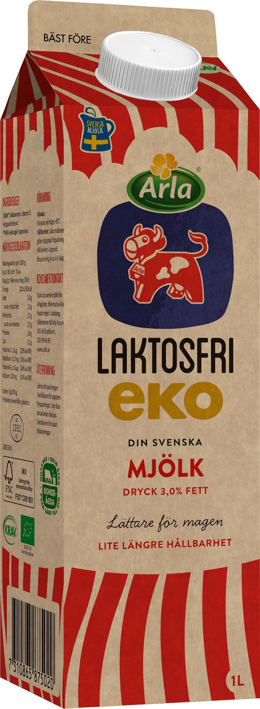 Laktosfri Ekologisk Mjölkdryck 3,0%